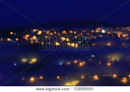 Bokeh of city lights background in Dalat, Vietnam