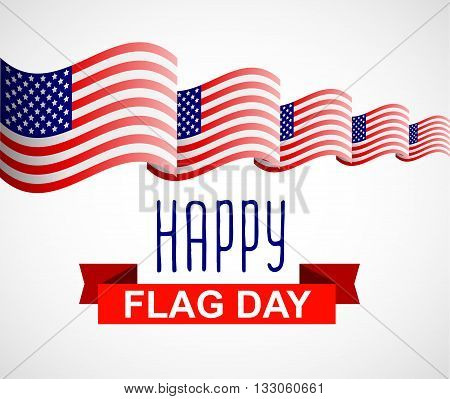Happy Flag Day background template. Flag Day greeting card template. Flag Day badge with red ribbon and American flag. Vector illustration for Flag Day