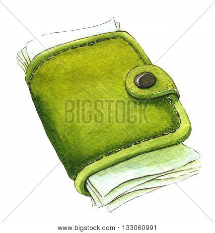 Wallet with money. Watercolor illustration on the white