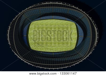 3D illustration of a football stadium with green field