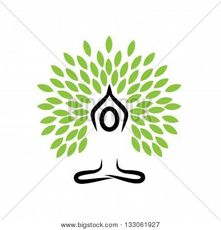 People Life Tree Doing Meditation, Yoga And Prayers - Vector Logo Icon