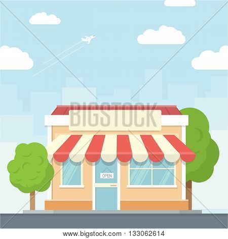 Small shop urban landscape in flat design style, vector illustration. Includes small business, buildings, trees, street shop, supermarket.
