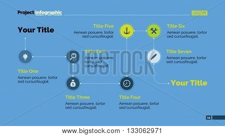 Editable presentation slide template of process chart with seven steps in form of icons, start and end point titles, sample text, multicolored version
