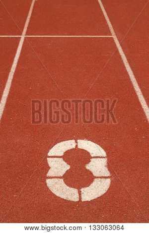 The number 8 on a running track