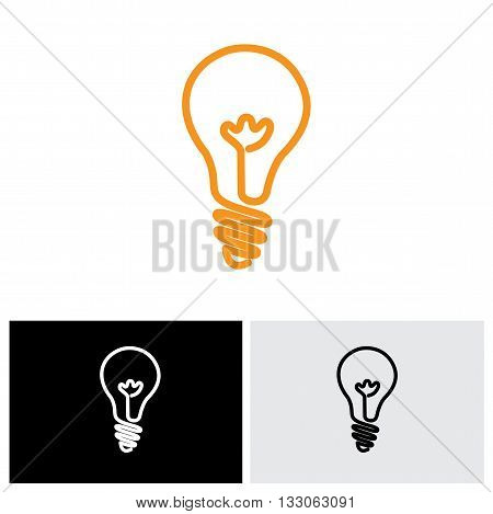Incandescent Simple Black Line Light Bulb Vector Icon Symbol Graphic
