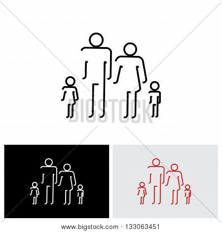 Family Of Four People Abstract Icons Using Abstract Line Drawing - Vector Icon