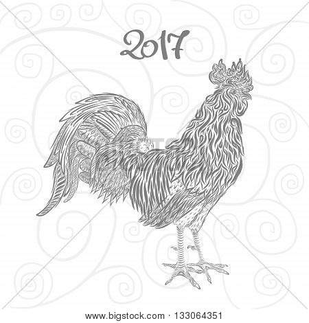 rooster hand drawn sign - zodiac stylized illustration
