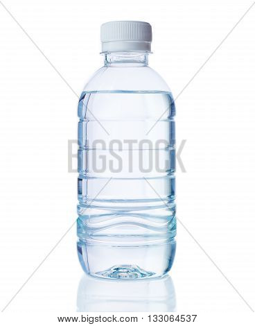 Plastic bottle of clear drinking water on isolated white background with bottle's reflection