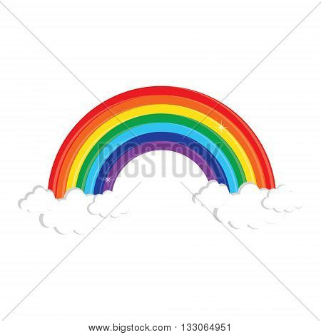 Vector illustration rainbow and cloud in the sky. Rainbow symbol flat icon. Color decorative rainbow
