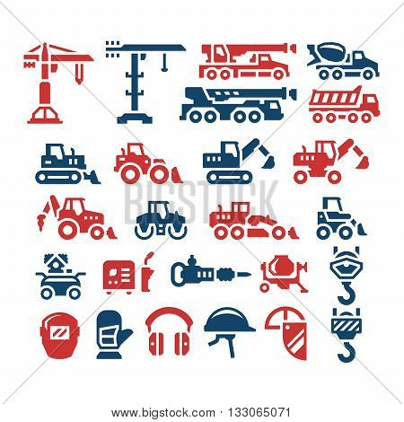 Set color icons of construction equipment isolated on white. Vector illustration
