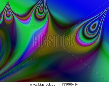 Colorful retro psychedelic effect fractal in blue pink and green