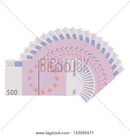Vector illustration five hundred euro banknotes isolated on a white background. Stack of paper money in flat design. Money icon