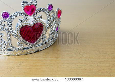 crown red hearts on wooden table. crown, pebble, Gems, ruby, stone