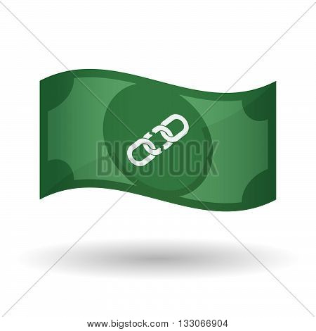 Illustration Of A Waving Bank Note With A Broken Chain