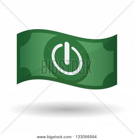 Illustration Of A Waving Bank Note With An Off Button