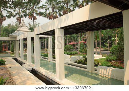 garden passage way in a formal garden