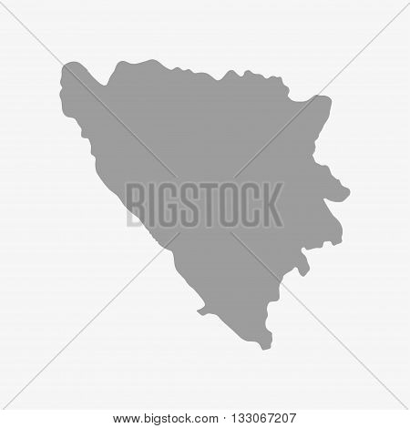 Bosnia and herzegovina map in gray on a white background