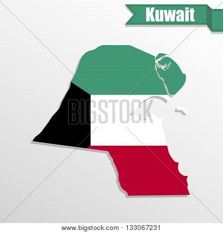 Kuwait map with flag inside and ribbon