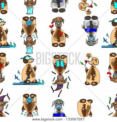 vector illustration of a seamless pattern with funny dogs in different situations grouped for easier editing