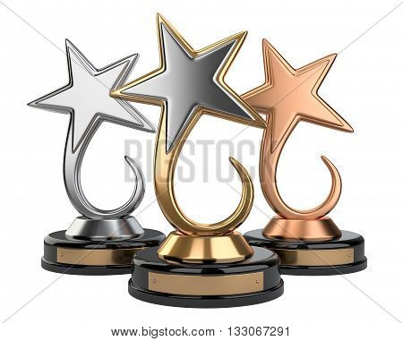 Golden silver and bronze star award set. 3d image isolated on a white background
