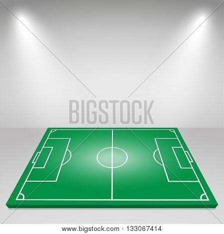 Green football field floodlights lighting. Vector background