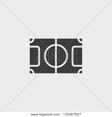 soccer field icon in a flat design in black color. Vector illustration eps10