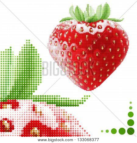 Halftone strawberry background. Fresh appetizing berries in embroidery style