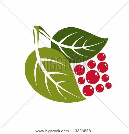Two simple flat green deciduous vector tree leaves with red berries or seeds stylized nature element. Ecology symbol can be used in graphic design.