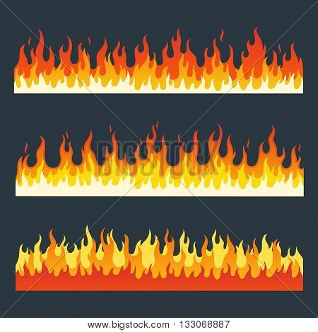 Fire flames vector set in a flat style. Cartoon burning fire flame. Fire flames isolated on a dark background. Different horizontal fire flames. Collection of long strips a flaming fire.
