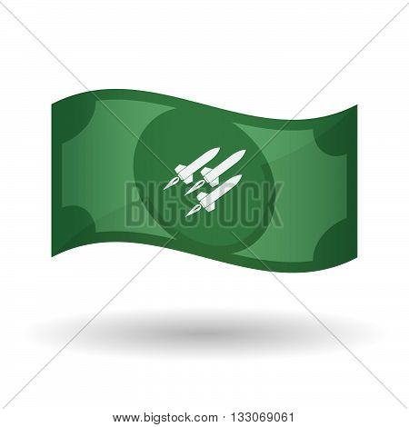 Illustration Of A Waving Bank Note With Missiles