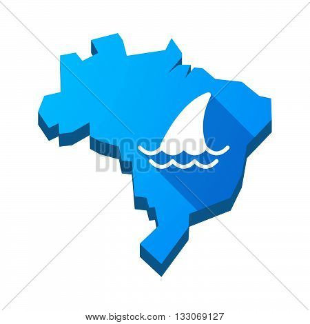 Illustration Of An Isolated Brazil Map With A Shark Fin