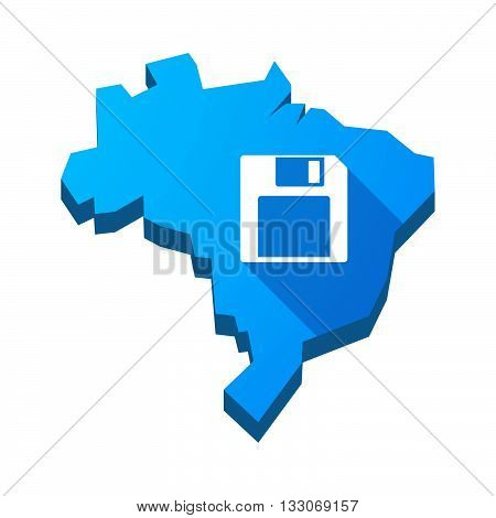 Illustration Of An Isolated Brazil Map With A Floppy Disk