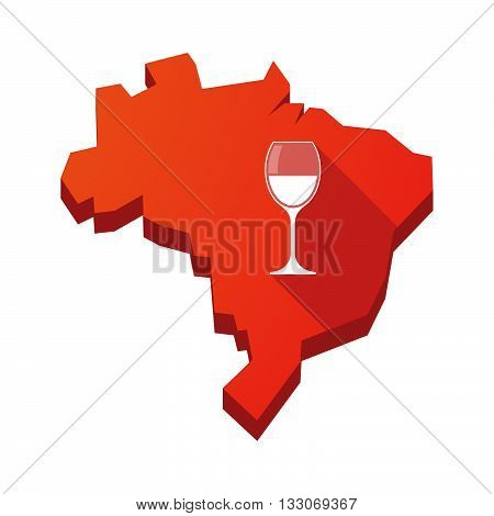 Illustration Of An Isolated Brazil Map With A Cup Of Wine