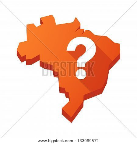 Illustration Of An Isolated Brazil Map With A Question Sign