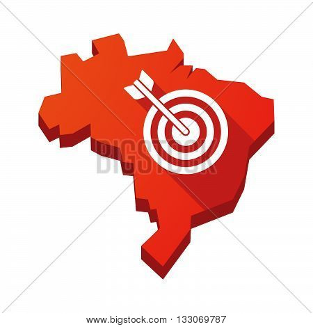 Illustration Of An Isolated Brazil Map With A Dart Board