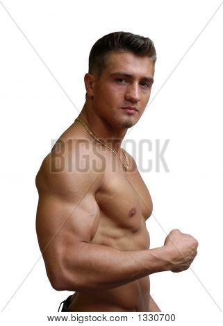 muskuläre sexy Mann beugt Bizeps, isoliert auf weiss