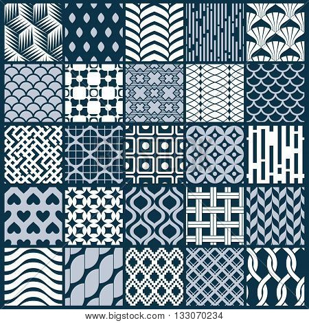 Vector graphic vintage textures created with squares rhombuses and other geometric shapes. Monochrome seamless patterns collection best for use in textiles design.