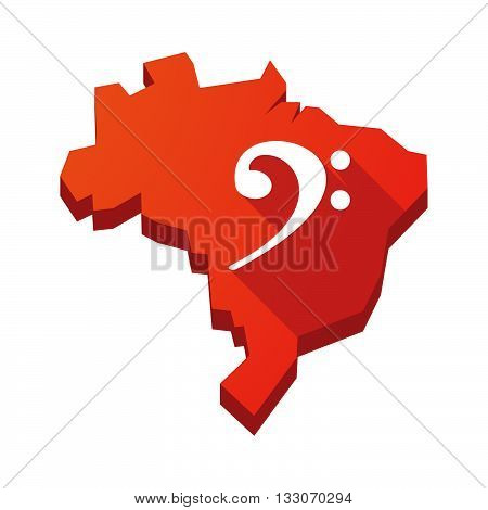 Illustration Of An Isolated Brazil Map With An F Clef