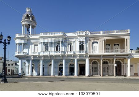 CIENFUEGOS - DECEMBER 2: Palacio Ferrer in Jose Marti Park on 2 December 2015 in Cienfuegos, Cuba.