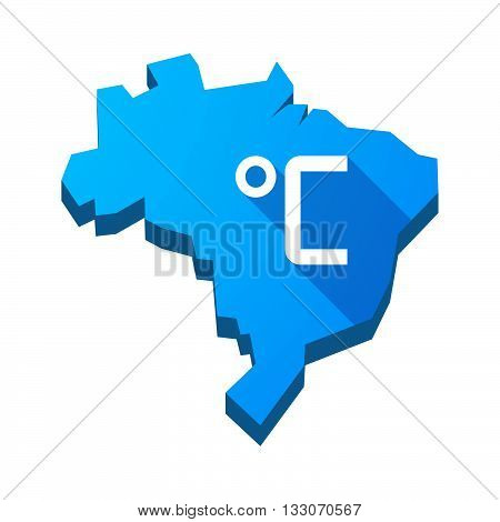 Illustration Of An Isolated Brazil Map With  A Celsius Degree Sign