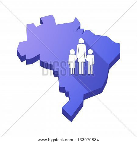 Illustration Of An Isolated Brazil Map With A Female Single Parent Family Pictogram