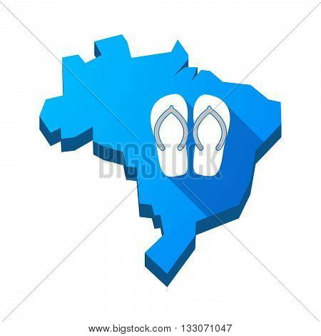 Illustration Of An Isolated Brazil Map With   A Pair Of Flops