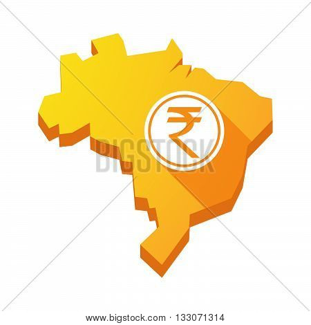 Illustration Of An Isolated Brazil Map With  A Rupee Coin Icon