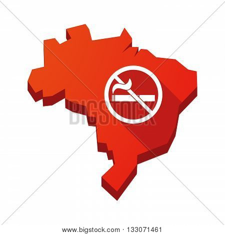 Illustration Of An Isolated Brazil Map With  A No Smoking Sign