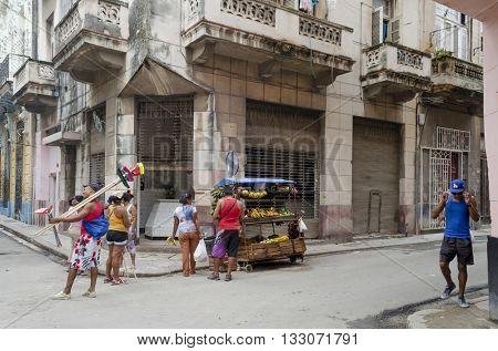 HAVANA - DECEMBER 10: Street of Old Havana on 10 December 2015 in Havana, Cuba.