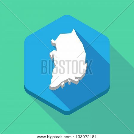 Long Shadow Hexagon Icon With  The Map Of South Korea