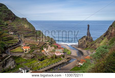 Beautiful aerial view of Sao Vicence small town on the north coast of Madeira island, Portugal.