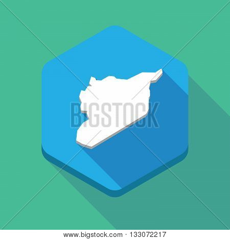 Long Shadow Hexagon Icon With  The Map Of Syria