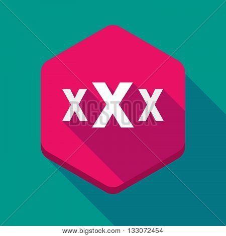 Long Shadow Hexagon Icon With  A Xxx Letter Icon