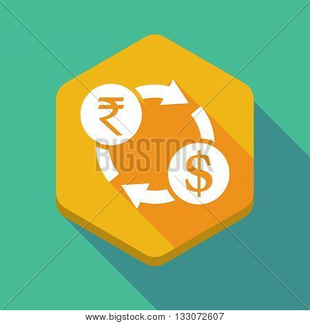 Long Shadow Hexagon Icon With  A Rupee And Dollar Exchange Sign